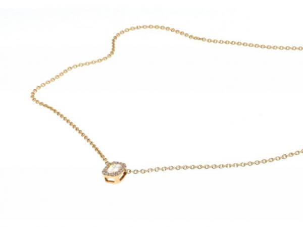 Collier mit Diamant Baguette, Brillanten
