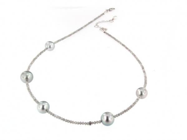 Diamantkette mit Tahiti Perlen 9-11 mm