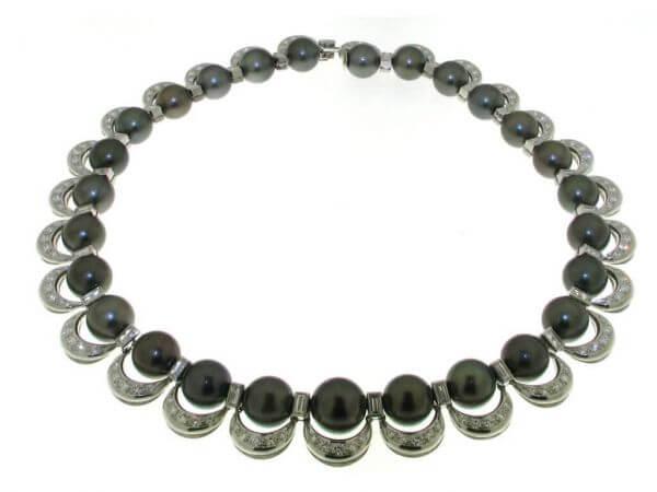 Collier Weißgold Tahiti Perlen,Diamanten