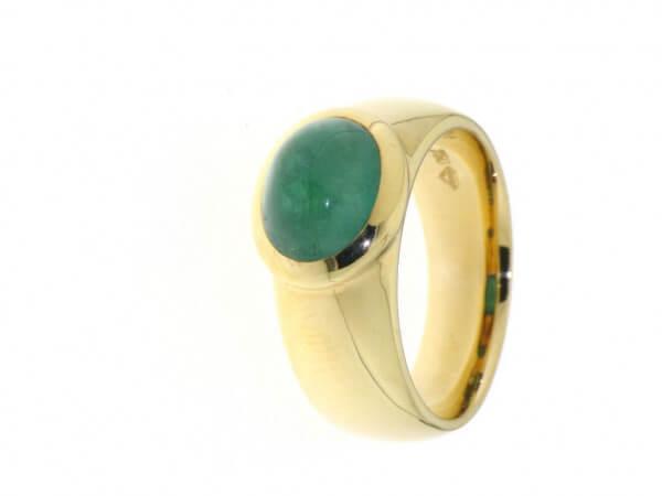 Ring 750 Roségold Smaragd Cabochon