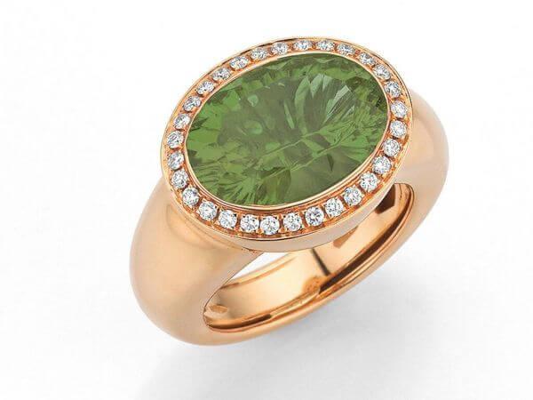 Ring Roségold Prasiolith und Diamanten