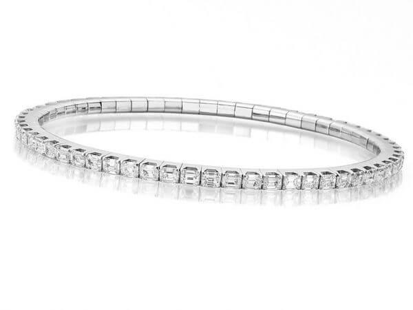 Flexibles Armband mit Diamant Baguetten