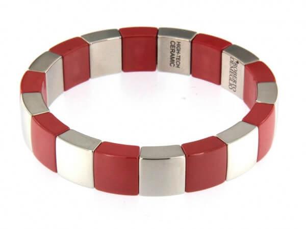 Armband rote und rhodinierte Keramik