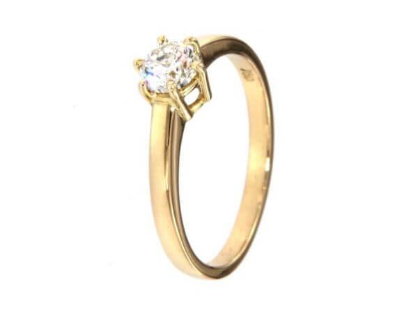Solitär Ring Gelbgold Brillant 0,51 ct
