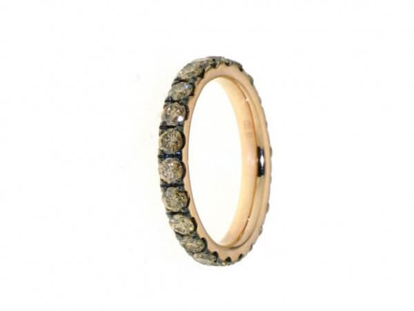 Memoire Ring Roségold braune Brillanten