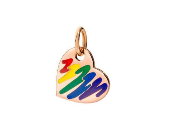Herzanhänger Emaille in regenbogenfarben
