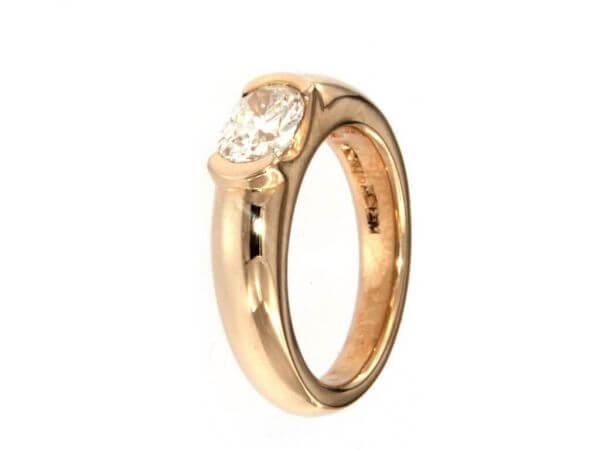 Ring aus Roségold 1 Diamant 1,0 ct