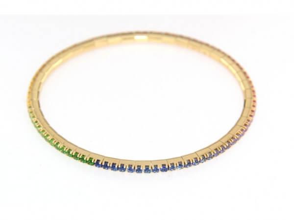 Armband dehnbar aus Gelbgold mit Safiren