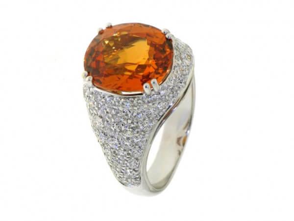 Ring Weißgold Mandarin Granat Brillanten