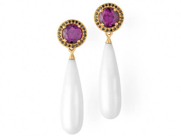 Ohrringe Cocolon Opale und Purple Granat