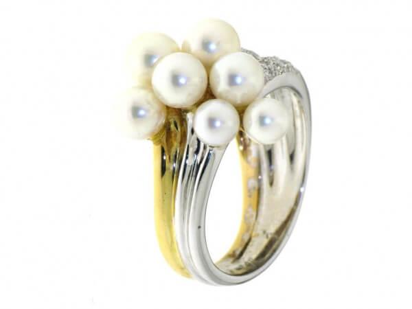 Ring 750 Gelb/Weißgold Akoya Zuchtperlen