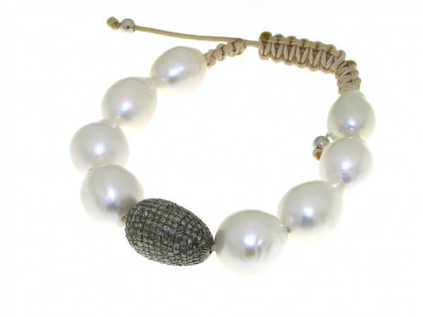 Armband Süßwasser Perle braune Diamanten