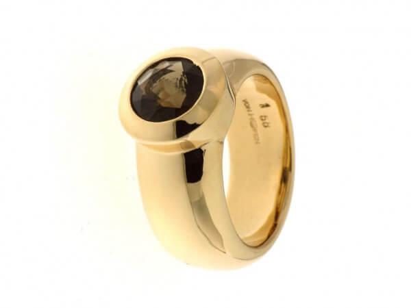 Ring aus Roségold mit einem Rauchquarz