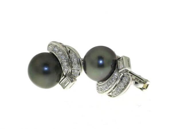 Ohrringe Weißgold Tahiti Perle,Diamanten