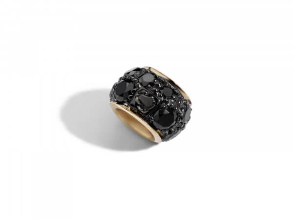 Rondella Roségold mit schwarz Diamanten