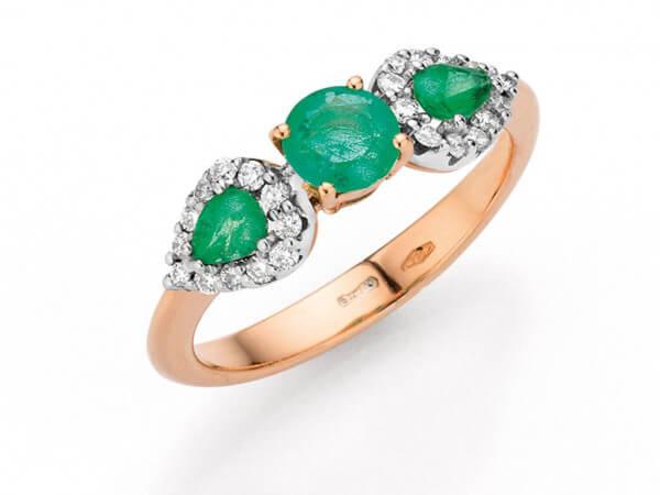 Ring Weiß/Roségold Smaragd und Brillant
