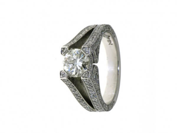 Ring 750 Weißgold 1 Brillant 1,07ct