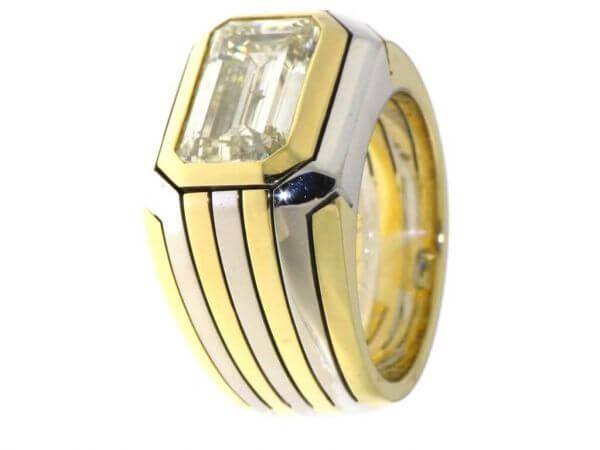 Ring Bicolor mit 1 Diamant 3,58 ct