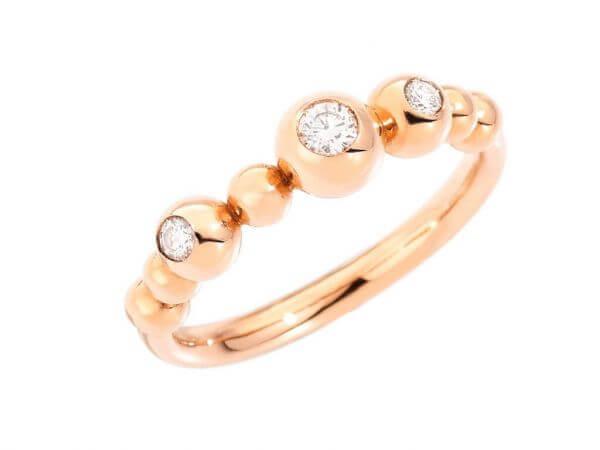 Dodo Bollicine Ring mit drei Diamanten