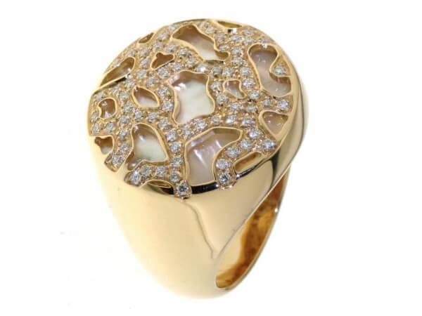 Ring Roségold Perlmutt mit Brillanten