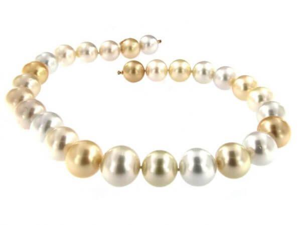 Südsee Perlenkette multicolor 14,4-18 mm