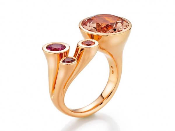 Ring Karlotta Rosegold Morganit,3 Safire