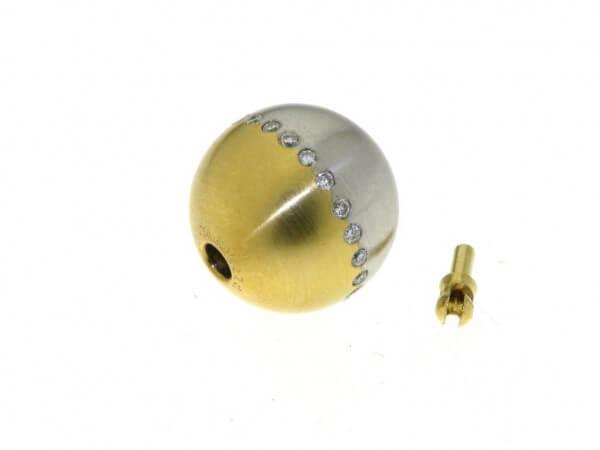 Schließe Gelb/Weißgold 14 mm mattiert