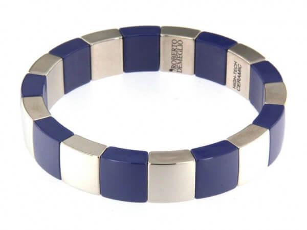 Armband blaue und rhodinierte Keramik