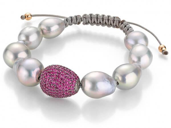 Armband Süßwasser Perlen und Rubine