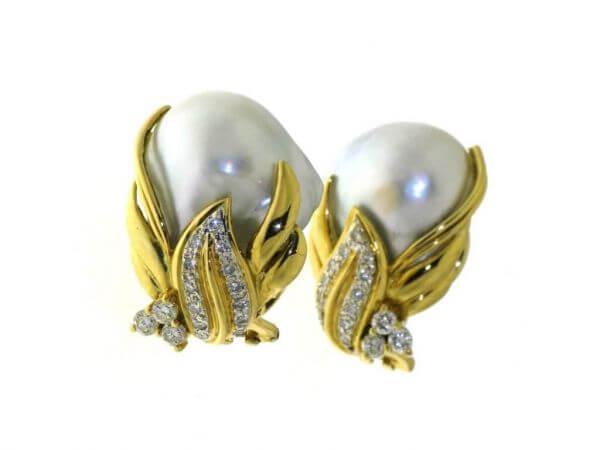 Ohrringe Gelbgold Südsee Perle,Brillant