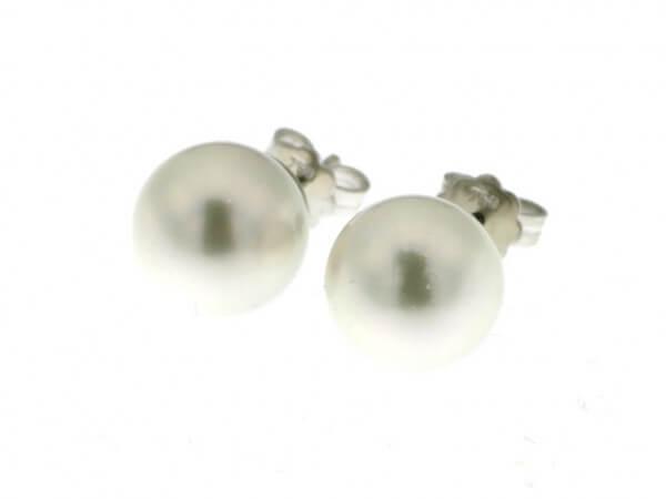 Ohrstecker mit Südsee Perlen weiß 11 mm