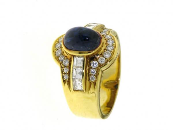Ring 750 Gelbgold Safir und Brillanten