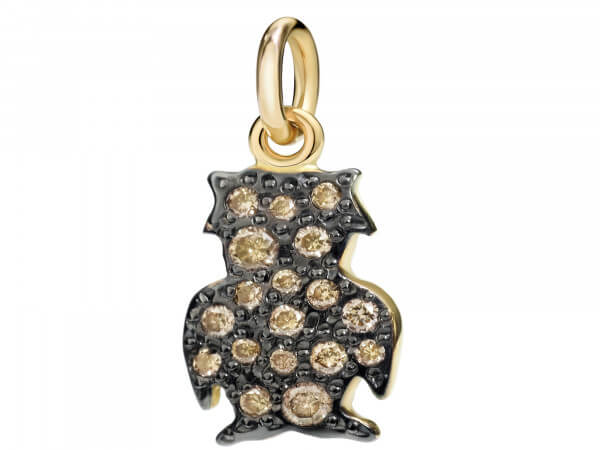 Dodo Charms Eule Roségold mit Diamanten