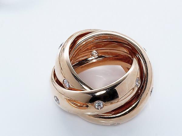 3er Ring 750 Roségold mit Brillanten