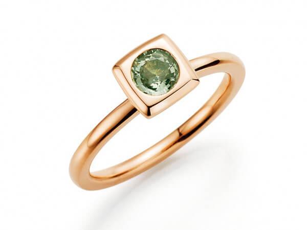 "Ring "" Mila"" aus Roségold mit mint Safir"