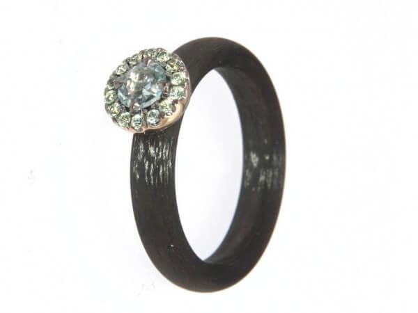 Ring Carbon Weißgold und Safire