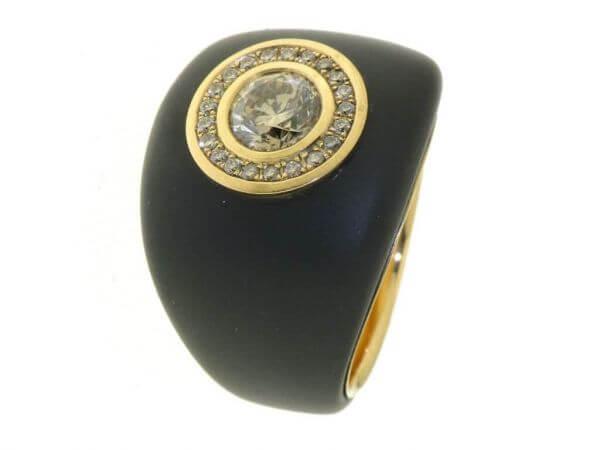 Ring schwarz ionisiterer Stahl/ 750 Rosé