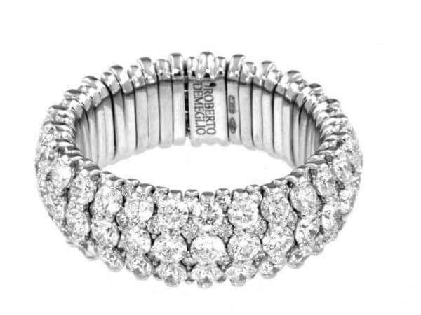 Extensible Ring Weißgold mit Brillanten