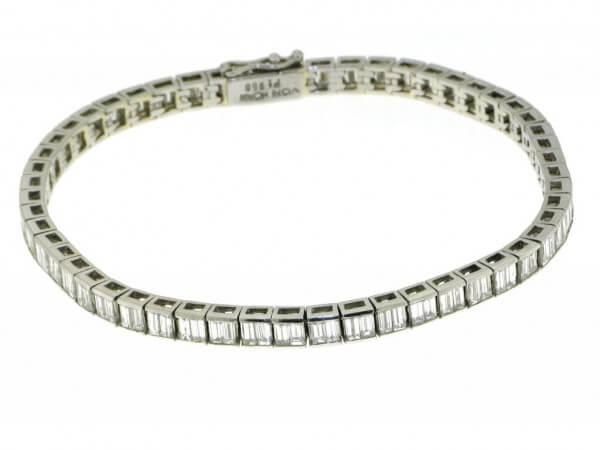 Armband 950 Platin mit Diamantbaguetten