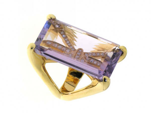 Ring 750 Roségold Amethyst Brillanten