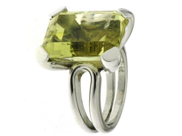Ring 750 Weißgold 1 Lemon Citrin