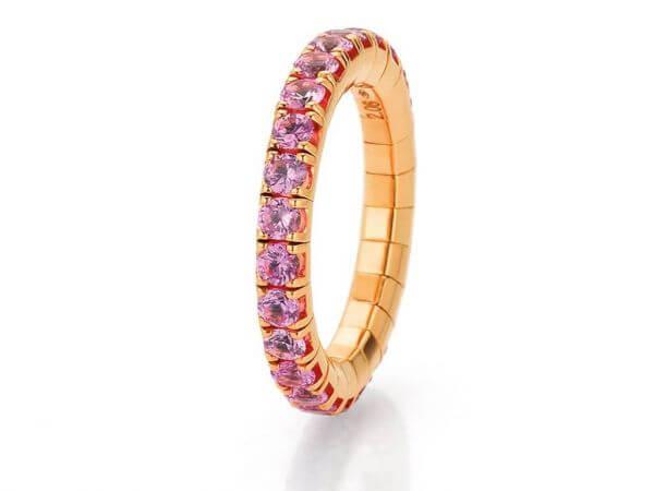 Flexibler Ring Roségold mit pink Safiren