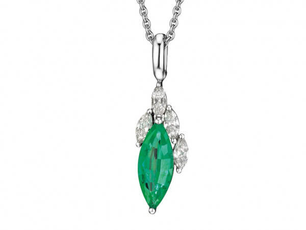 Anhänger Smaragd Navette und Diamanten