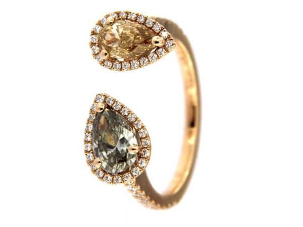 Ring aus Roségold mit 2 Diamant Tropfen