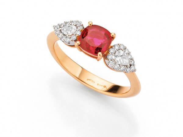 Ring 750 Rosé/Weißgold Rubin u. Brillant