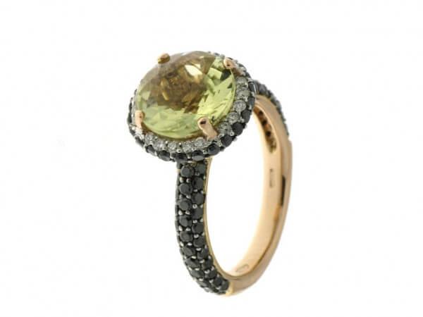 Ring Roségold Lemonquarz und Diamanten