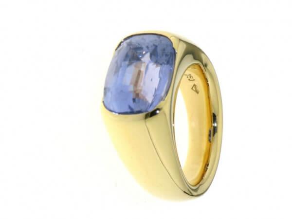 Ring 750 Gelbgold Ceylon Safir blau