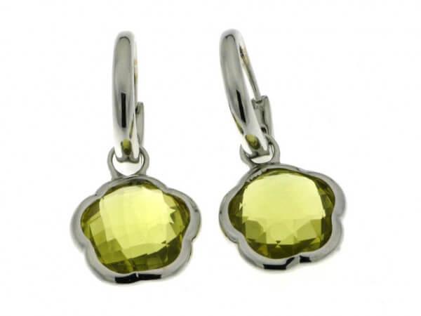 Ohrringe aus Weißgold mit Lemon Quarz