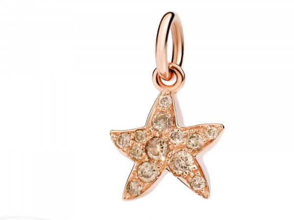 Seestern Charm aus Roségold, Diamanten