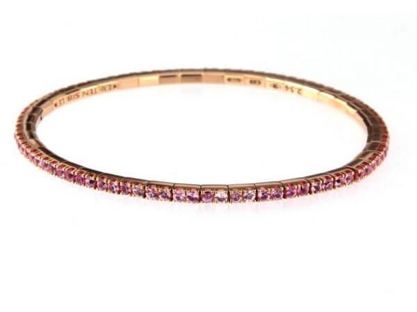 Tennis Armband dehnbar mit rosa Safiren